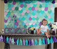 Mermaids Mermaid Theme Birthday, 1st Birthday Girls, 3rd Birthday Parties, Mermaid Baby Showers, Baby Mermaid, Mermaid Party Decorations, Birthday Party Decorations, Little Mermaid Parties, Birthday Crafts
