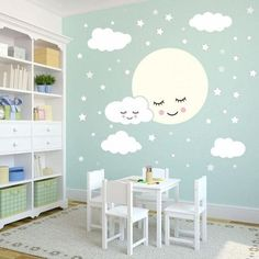 Full Moon With Clouds Stars Wall Decal Kids Nursery Rooms Removable Wall Sticekrs Vinyl Baby Children's Room Wall Decor Baby Room Design, Baby Room Decor, Nursery Room, Bedroom Wall, Kids Bedroom, Moon Nursery, Baby Room Diy, Room Wall Painting, Kids Room Paint