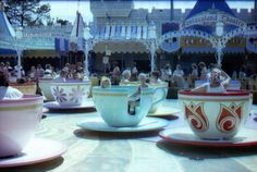 Flashback Fridays allow us to turn back time to bygone days at Disneyland and the Walt Disney World resorts.  Here we see the Mad Tea Party at Disneyland, circa 1980, before the New Fantasyland transformation of 1983.