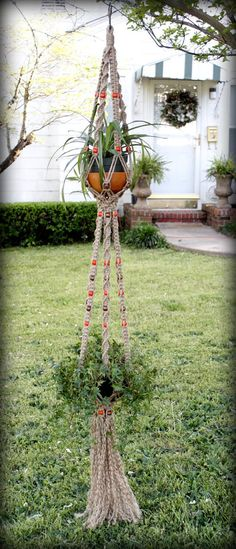 Desert Sunset Handmade Natural Jute Double Macrame by Macramaking, $65.00