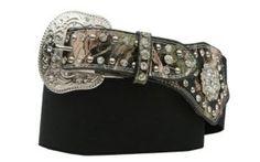3D Belt Company Angel Ranch Black with Camo & Crystal Conchos High Waist Belt   Cavender's