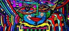 """""""Face - Abstract Face"""" artwork in Ink by Marie Jamieson. Painted on three separate canvas panels, 6"""" x 8"""" each."""
