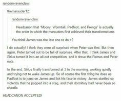 Out of the marauders James was probably last