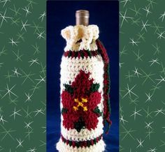 Stitches N Scraps: Free crochet pattern – Poinsettia Bottle Cozy by Pia Thadani Holiday Crochet Patterns, Knitting Patterns, Mason Jar Cozy, Wine Bottle Covers, All Free Crochet, Easy Crochet, Crochet Baby, Christmas Crafts, Crochet Christmas