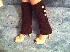 "Legwarmers with buttons! This pattern might be worth a try! I also think using some rinstone buttons would ""dress"" it up a bit! :)"