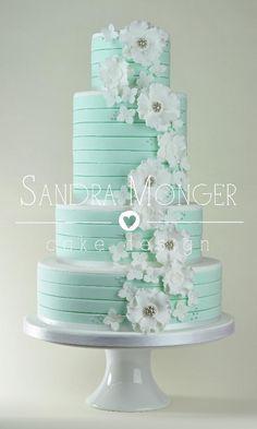 Mint Stripe, White Flowers Cake