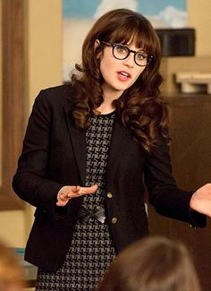 Zooey Deschanel's Grey houndstooth dress and black blazer on New Girl.  Outfit Details: http://wwzdw.com/z/4754/ #WWZDW
