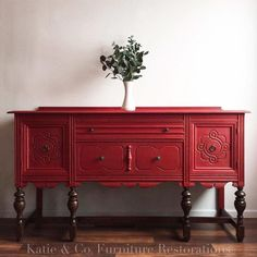 Buffets #diydresserpainting #repurposedfurnituredresser red buffet #paintedfurniture
