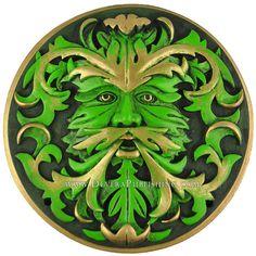 Green Man Plaque - green color