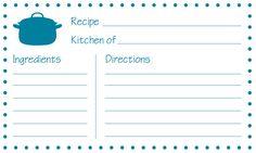 Free Printable Recipe Cards