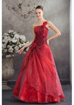 c160157f80e Red One Shoulder Hand Made Flowers A-line Quinceanera Dress Wedding Dress  2013