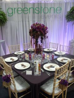 Purple table setting for bridal fair. Styled by Greenstone Events.