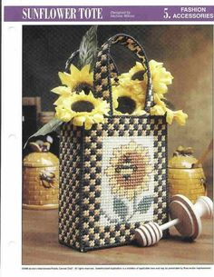 Sunflower Tote In Plastic Canvas