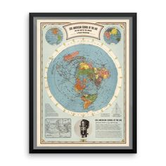 Air Map of the World - Premium Luster Photo Paper Poster (FRAMED)