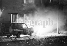 Riots : Belfast. February 1971. Burning cars form a barricade in Annadale Street, Belfast, during rioting in the New Lodge Road area of the city. (04/02/1971) | Belfast Telegraph Photosales