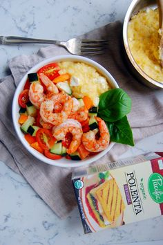 Uproot From Oregon shares her Quick Shrimp Polenta Bowls with Tomato Salad recipe. Made with juicy and zesty shrimp, crunchy veggies, and the warm creamy Pacific Foods polenta that are a match made in 20-minute-dinner-heaven. http://uprootfromoregon.com/2015/06/12/shrimp-polenta-bowls/