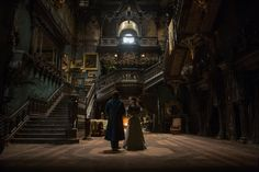"Tom Hiddleston and Mia Wasikowska The set of ""Crimson Peak"""