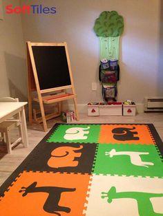 Create a designer playroom floor for kids with SoftTiles Safari Animals Foam Mats. #foamtiles Soft Tiles