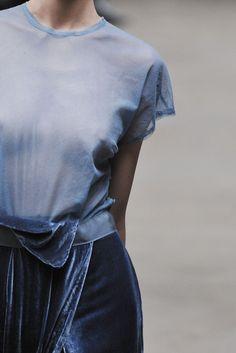 sheer blue & velvet mix #style #fashion
