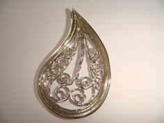 sterling silver pendant filigree drop one of a kind by rutybobrow, $78.00