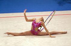 Oct SYDNEY, AUSTRALIA: Almudena Cid Tostado of Spain performs with hoop during rhythmic gymnastics final at 2000 Summer Olympics. Sport Gymnastics, Rhythmic Gymnastics, Summer Olympics, Olympic Games, Bikinis, Swimwear, Sydney, Hoop, Cheer