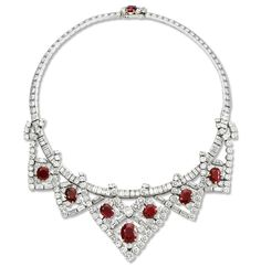 The Cartier ruby necklace Elizabeth Taylor was given by her third husband, Mike Todd. It was accompanied by matching earrings and a bracelet.