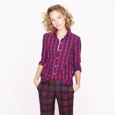 J. Crew // Boy Shirt in Poppy Plaid Beautiful vibrant plaid, excellent condition. Worn a couple of times. No flaws! Third photo shows colors best. J. Crew Tops Button Down Shirts