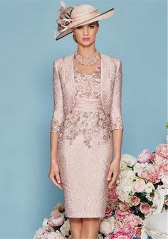 Ronald Joyce Salmon Dress & Bolero 991124 | McElhinneys Bridal Rooms
