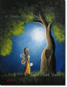 ORIGINAL FAIRY PAINTING erback art soft surreal by shawnaerback