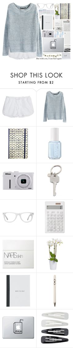 """""""Lazy day in bed, listening to very old songs"""" by alexandra-provenzano ❤ liked on Polyvore featuring Tory Burch, Essie, Nikon, Paul Smith, Muse, Muji, NARS Cosmetics, Holga, Seltzer and Forever 21"""
