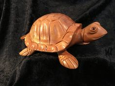 """Hand-carved Wooden Turtle Puzzle Box from Guatemala - """"Monterrico Sea Turtle"""