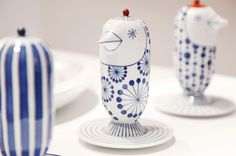 the Jaime Hayon line of ceramics for Choemon, one of the better known ceramic companies specializing in Marutani-yaki Ceramic Spoons, Ceramic Art, Japan Crafts, Asian Decor, Interior Accessories, China Porcelain, Japanese Art, Shades Of Blue, Objects