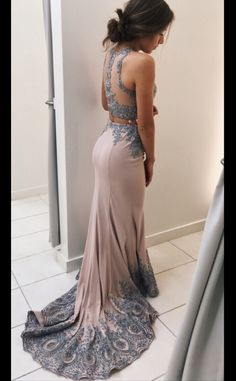 Lace Appliqued 2 Pieces Mermaid Prom Dresses,Sweep Train