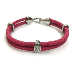 DARK PINK STINGRAY BRACELET IN SILVER - S209/B | Dual Cord Hand-wrapped Genuine Stingray Leather | Three Sterling Silver accents and tail-hook clasp | Rare and Exotic looking | Beautiful high-end bracelet | #caerusgallery  #luxury  #exotic  #leather  #bracelet  #accessories #darkpink - www.caerusgallery.com