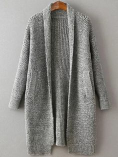 SheIn offers Grey Shawl Collar Drop Shoulder Long Sweater Coat & more to fit your fashionable needs. Long Sweater Coat, Long Sweaters, Sweater Cardigan, Pullover Upcycling, Pull Long, Pink Shawl, Cute Outfits For School, How To Purl Knit, Knit Fashion