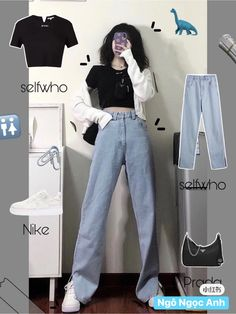 Korean Girl Fashion, Korean Fashion Trends, Ulzzang Fashion, Korean Street Fashion, Kpop Fashion Outfits, Girls Fashion Clothes, Edgy Outfits, Retro Outfits, Cute Casual Outfits
