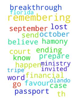 Thank you for remembering me in prayers. I have been - Thank you for remembering me in prayers. I have been invited to go to Olando Florida in October for the ministry of the word of God. but I lost my passport , I don't know how, I also have a court case which is ending on 6th of September, 2016, please let it send in Jesus name and let me prepare my tripe in hamony, please pray for me for financial breakthrough in Jesus name. I believe GOD IS WITH ME AND ALL WILL HAPPEN TO MY FAVOUR IN…