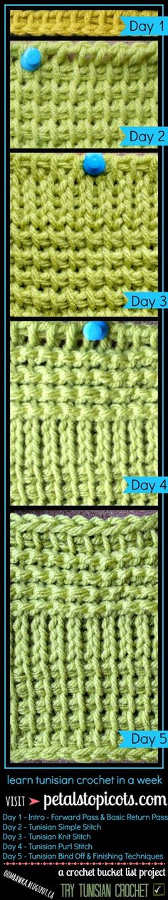 Crochet Bucket List Project (Oombawka Design) -  learn tunisian crochet -  Visit Petals to Picots for Tunisian Crochet Tutorials to get you started!!