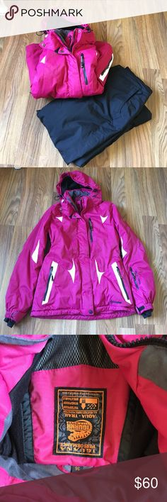 Iguana Pink Ski Jacket EUC (worn on a couple ski trips) ski jacket! Hot pink with white accents. Women's European size 36 (US size small). Purchased in Germany. Sturdy, well-made ski jacket with many features, including detachable and adjustable hood, inner hand cuffs, pit zips, inner pockets, detachable powder skirt, waterproof, headphone connection, and antibacterial fabric. Message with me any questions! This is an amazing jacket, only selling because too big on me (I needed a Petite)…