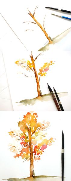 Learn to paint a watercolor fall tree in this easy to follow tutorial over at the blog. Click to learn how! - Inkstruck Studio