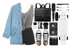 Denim & Stripes by isthelastofus on Polyvore featuring WithChic, Steve J & Yoni P, Topshop, Converse, Monki, Minor Obsessions, Forever 21, Givenchy, Giorgio Armani and Luckies