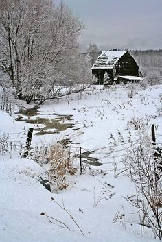 Country Winter - Snow, barn and creek by tanmari Barn Pictures, Winter Pictures, Country Barns, Old Barns, I Love Winter, Winter Time, Country Scenes, Winter Scenery, Snow Scenes