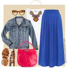 Plus Size - Bright Maxi Skirt