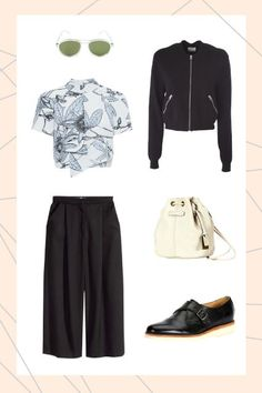 — SPONSORED —Swap out your dark skinnies for comfy culottes and pair 'em with styles that add some springy pop — like an off-white, drawstring bag, clear-rimmed shades, and a floral, mock-neck top — to embrace the seasonal change while keeping you covered. Beat the lingering chill with a bomber jacket and slip-on buckle flats; it's about time you cruised your 'hood sans snow boots.