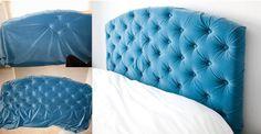 Transforma una cabecera vieja tapizándola con terciopelo.   23 maneras de hacer…