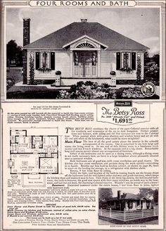 The Betsy Ross by Sears - 1923 Sears Kit House - Tiny Colonial Revival Cottage Historical Architecture, Architecture Details, 2 Bedroom House Plans, Vintage House Plans, Craftsman Style House Plans, Sears Craftsman, Hip Roof, Small House Plans, Kit Homes