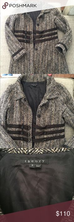 Theory Tweed-Style Pea Coat --EUC - extremely good used condition! --Worn a few times, in absolutely great condition  --Tweed-style, but super soft and lined inside --Could also fit an Extra Small (oversized) --Cinched at the waist, super flattering Theory Jackets & Coats Pea Coats