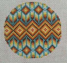 Beautiful-Hand-Painted-HP-Round-Ornament-Needlepoint-Canvas-18-mesh-South-West