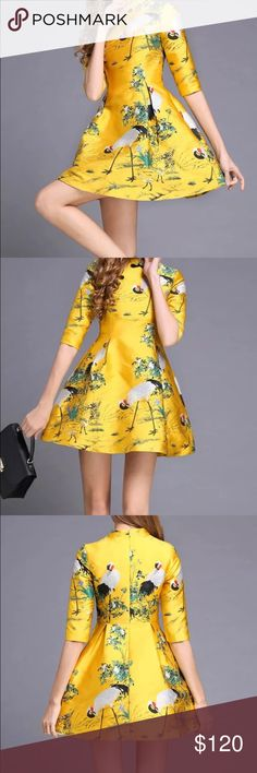 Vintage Inspired Whimsy Bright Yellow Dress NEW A-line Silhouette & demure mock neckline. Brand NEW perfect for Summer time! SSXR Dresses Mini