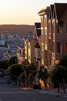 Beautiful light on some old victorian houses in San Francisco